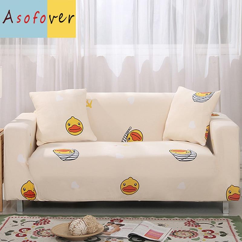 Yellow Duck Pattern Sofa Cover Elastic