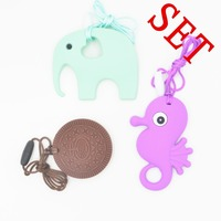 Silicon Teether Set Funny Teether For Baby BPA Free Teething Necklace Baby Gift Baby Teether Safe
