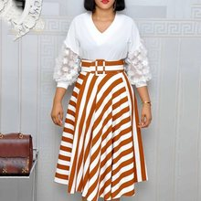 White Dress Women Stripe Fashion Patchwork Big Swing Lace Sleeve V Neck High Waist Office Casual Ladies Autumn Midi Dresses 2019