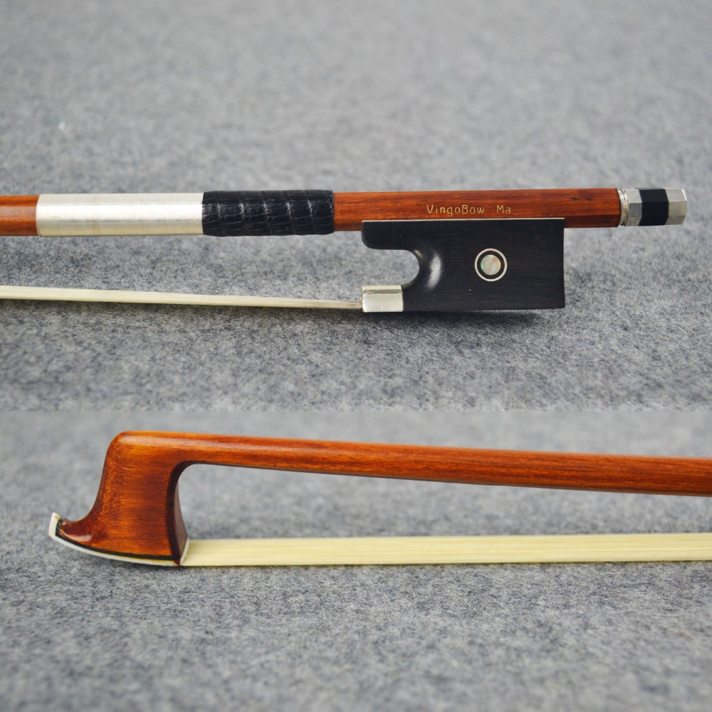 950V 4/4 Size Tourte Master Pernambuco VIOLIN BOW Ebony Frog Pure Silver Fitted Natural White Horsehair Violin Parts Accessories 1 4 size 812vb pernambuco violin bow high density ebony frog with nickel silver good quality hair straight violin accessories