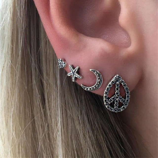 jewelry amazon earrings peace sign stud com dp sterling silver
