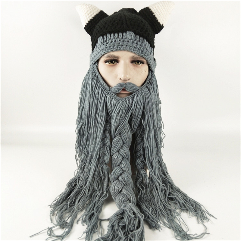 99c6925514e IANLAN Unisex Nordic Style Hats Autumn Winter Viking Horn Wool Creative  Long Beard Hats Halloween Caps ...