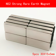 5PCS 30x15x5mm N52 Super Strong Rare Earth Magnet Permanent N52 Ndfeb Magnets 30*15*5MM 1pc strong neodymium magnet rare earth round fridge microphone magnets mayitr n52 large discs ndfeb magnetic materials 25 5mm