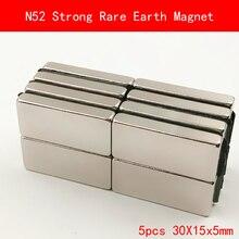 5PCS 30x15x5mm N52 Super Strong Rare Earth Magnet Permanent Ndfeb Magnets 30*15*5MM
