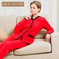 Qianxiu mulheres homewear conjuntos de pijama sleepwear algodão feminino terno ocasional das senhoras cardigan de manga longa casaco + calças