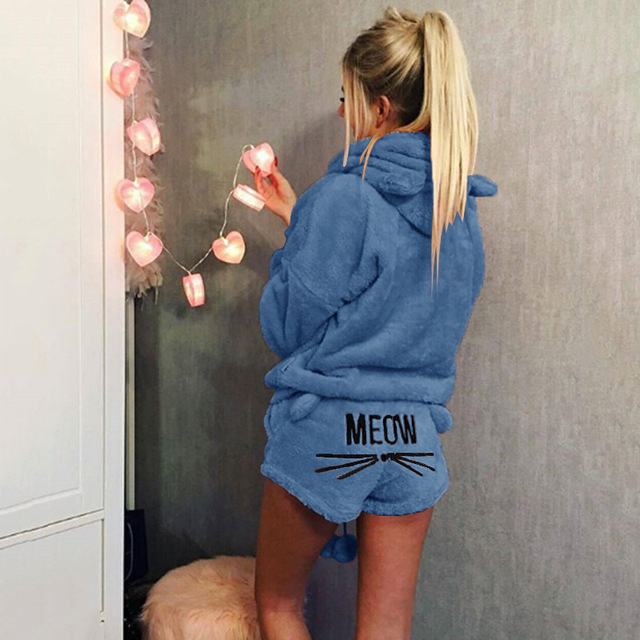 Women Coral Velvet Suit Two Piece Autumn Winter Pajamas Warm Sleepwear Cute Cat Meow Pattern Hoodies Shorts Set 2018 New 2