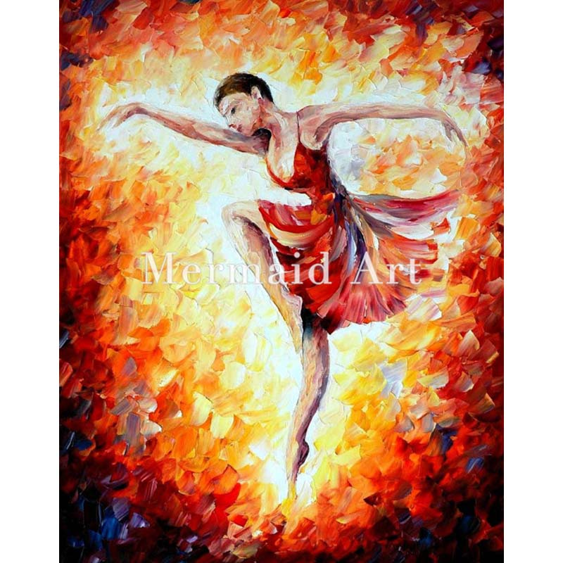 Hand Painted Landscape High Quality Abstract Palette font b Knife b font Flaming Dance Oil Painting