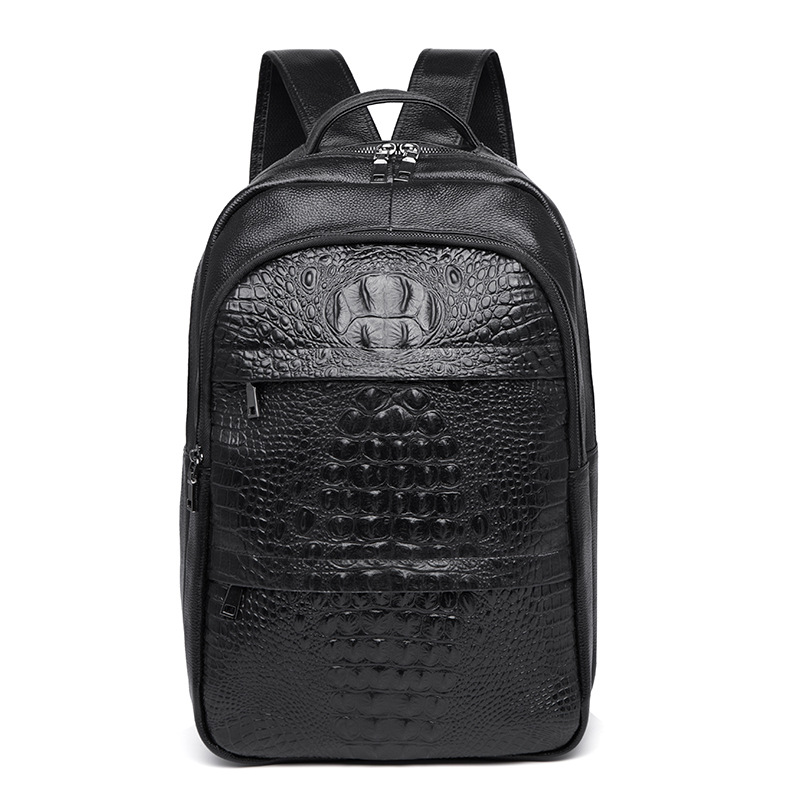 100% Genuine Leather Men Backpacks Alligator Fashion Real Natural Leather Student Backpack Boy Luxury Travel Computer Laptop Bag