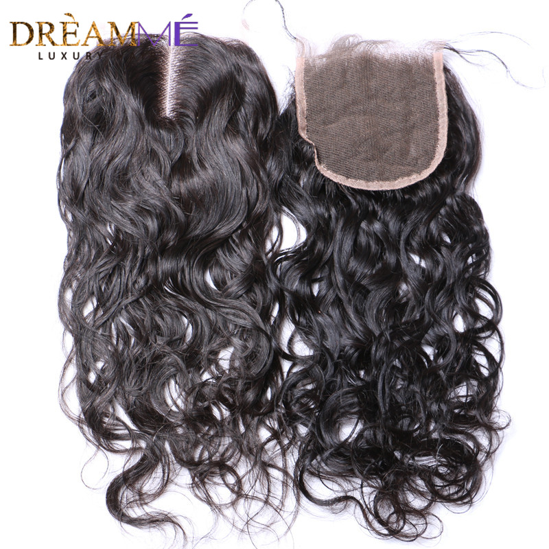 Brazilian Natural Wave 4x4 Lace Closure Brazilian Remy Human Hair Bleached Knots Closure With Baby Hair