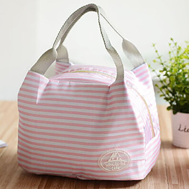 Striped Dot Portable Lunch Bag Thermal Insulated Cold keep Food Safe warm Lunch bags
