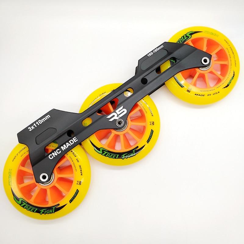 Free Shipping Speed Skates Frame 3 X 110 Mm With Wheels Abec-7 Bearing