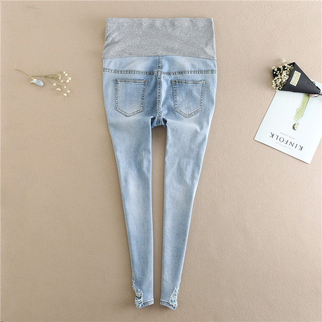 Embroidery Flower Denim Maternity Jeans