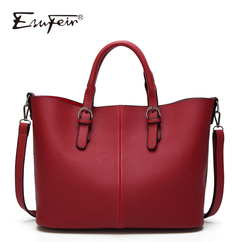 ESUFEIR Brand Fashion Women Handbag PU Leather Shoulder Bag Large Capacity Casual Tote Bags Famous design Female Crossbody Bag new esufeir genuine leather stone pattern women handbag famous brand design messenger bag fashion tassel tote bags crossbody bag