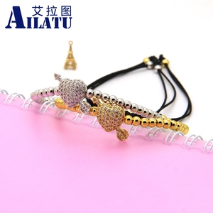 Image 5 - Ailatu CZ Arrow Through Love Heart Bracelet Clear Cz Beads and 4mm Stainless Steel Couple Wedding Jewelry