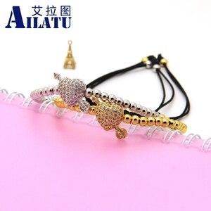 Image 5 - Ailatu cz seta através do amor coração pulseira clara cz contas e 4mm de aço inoxidável casal jóias casamento