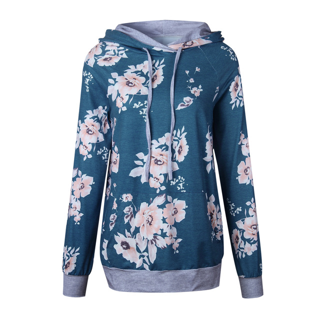 Wontive Women s Hoodie Autumn Dark Blue Floral Print Long Sleeve Jumper Pullover Turtleneck Casual Winter Sweatshirts