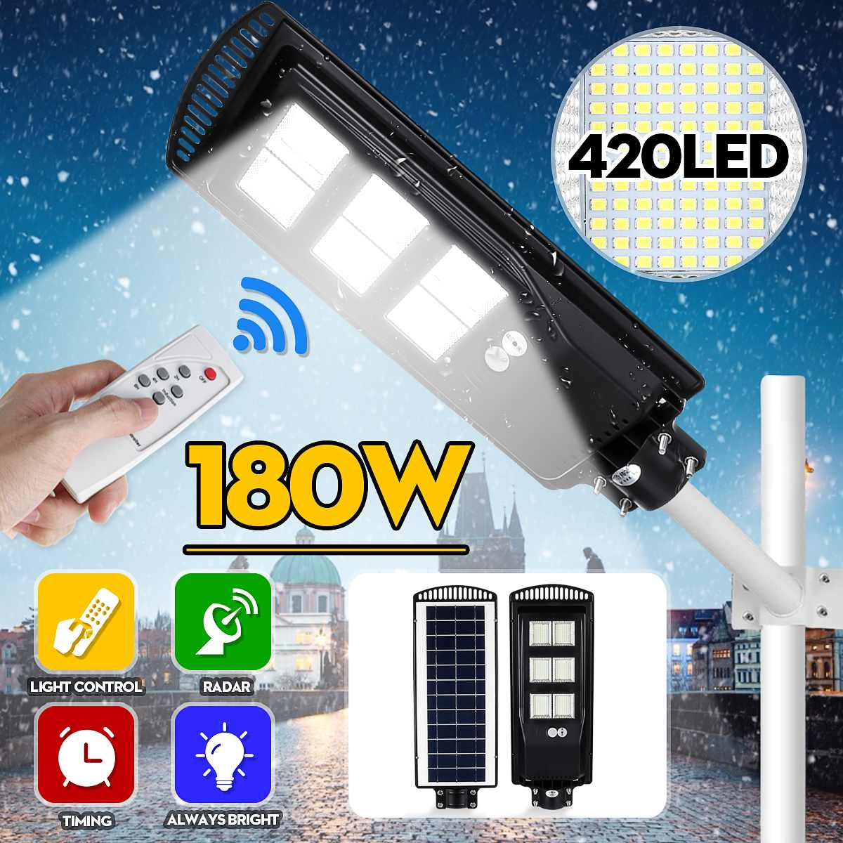 New LED Street Light 80/140/180W LED Solar Light Wall Lamp Rada R PIR Motion Sensor Wall Timing Lamp+Remote Waterproof For Garde