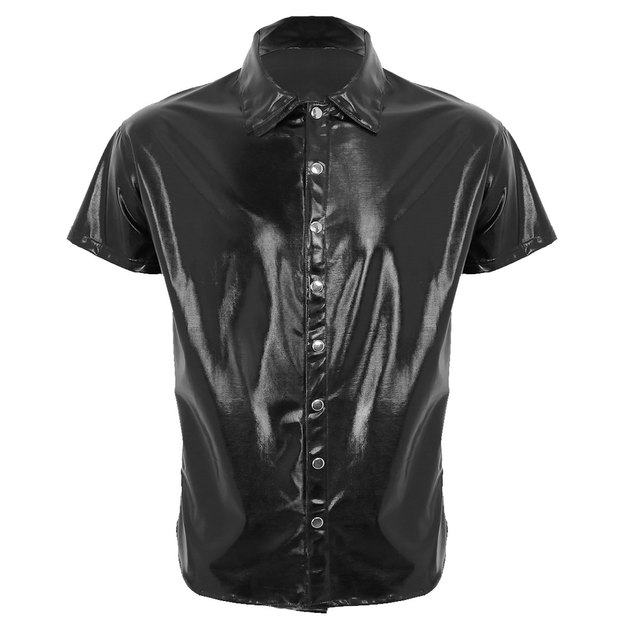 TiaoBug Mens Patent Leather Turn-Down Collar Long Sleeve Button Down Shirts Nightclub