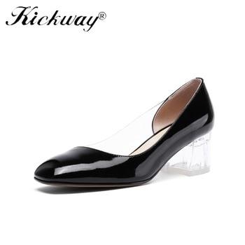 Ladies Dress Shoes Womens Clear Heel Pumps Thick Heel Shoes For Women Black Nude Women Pumps Shallow Ladies Platform Shoes 34-39