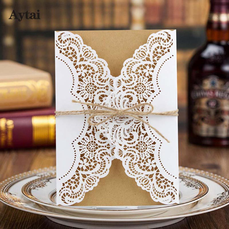 Aytai 20pcs Wedding Invitations Vintage 5x7 Inch Paperboard Laser Cut  Invitation Cards With Envelope Thank You