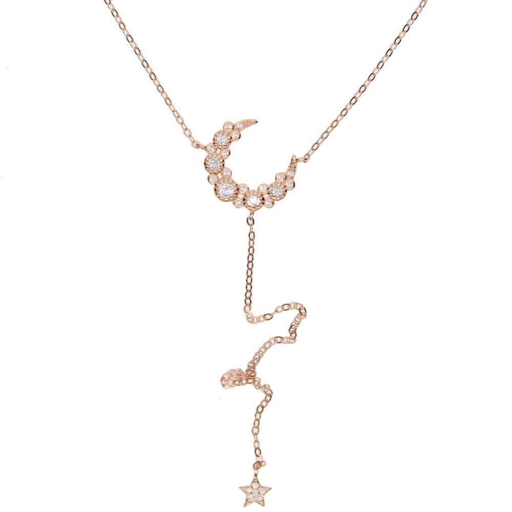 Роскошные сексуальные женские ювелирные изделия из стерлингового серебра 925 пробы, длинная Очаровательная цепочка в виде Луны и звезды, элегантные модные ожерелья в форме Y
