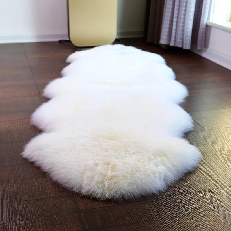 Prawdziwej skóry owczej futra dywan włochaty dywan typu shaggy dla pokoju gościnnego biały owce skóry Furry dywan do wystroju domu puszyste maty dywaniki futra w Dywany od Dom i ogród na  Grupa 1