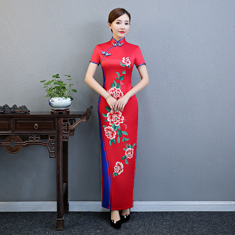 Plus Size 3XL 4XL 5XL Chinese Vintage Printed Lady Qipao Fashion Handmade Button Cheongsam Novelty Chinese Formal Dress-in Cheongsams from Novelty & Special Use    2