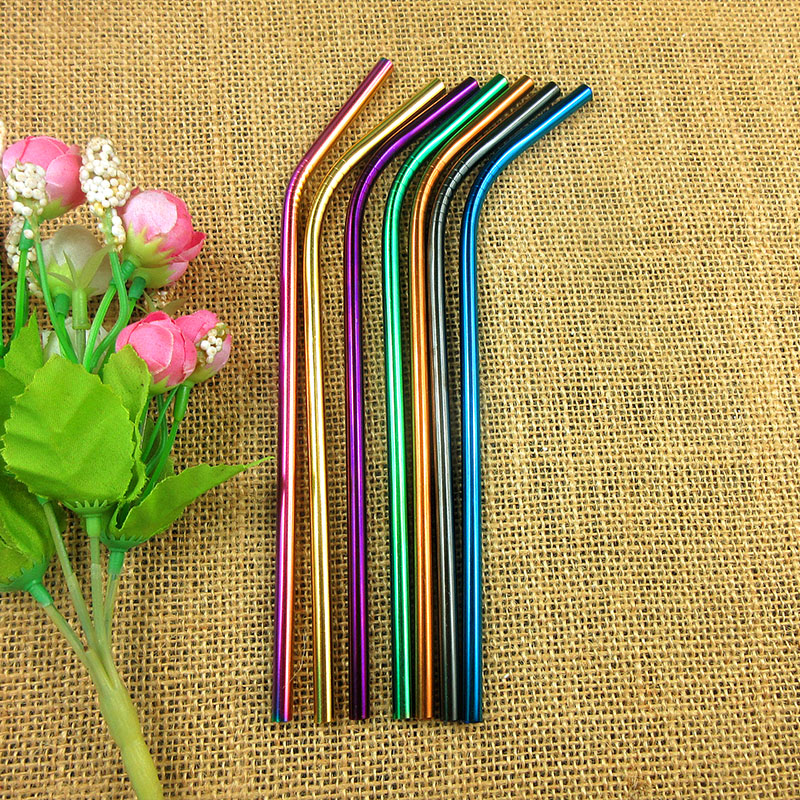 100pcs Metal Curve 6MM Drinking furtacor Straw Black Eco Friendly Bend Stainless Steel With Rainbow Brush