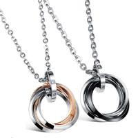 Stainless Steel Circle Pendant Couple Necklace Cubic Zircon Crystal Lovers Jewelry Valentines Day Gift