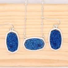 22 Colors Long Oval Pendant Necklace With Earrings Jewelry Set Glitter Druzy Drop Boutique