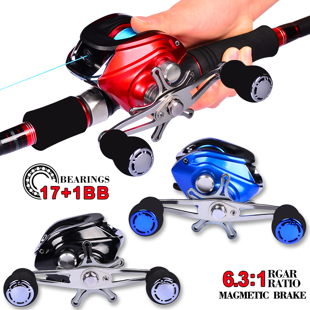 4 Color Availab l17+1BB Bearing Baitcast Comdaba Water Drop Reel Casting Reel Gear Ratio 6.3 :1 Aluminum Spool Left-Right Handle(China)