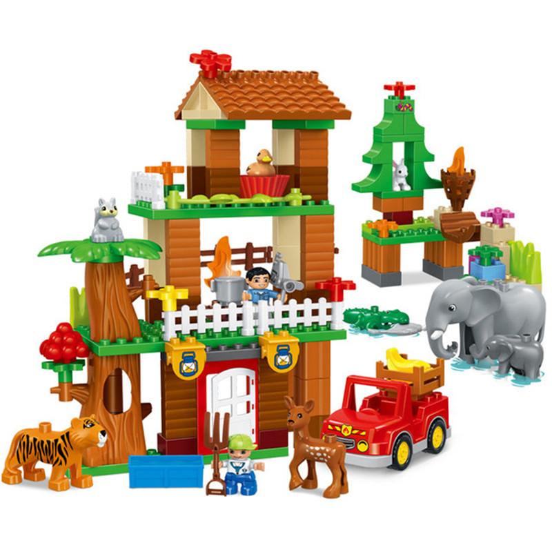 138pcs Diy Jungle Animal Building Blocks Enlighten Boy Figure Large Size Bricks Compatible With Duplo Toys Gift For Children kid s home toys large particles circus show animal paradise building blocks large size 39pcs diy brick toy compatible with duplo