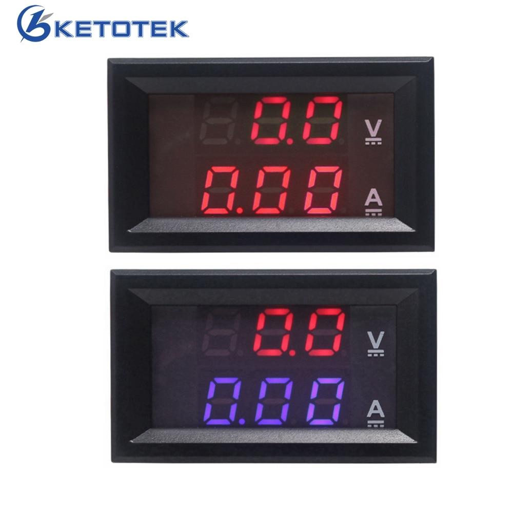 Red DC 0-100V/10A Digital Voltmeter Ammeter Amperemeter Car LED Tester Current Voltage Monitor sj 028va 0 3 6 digital dc double show voltmeter amperemeter black