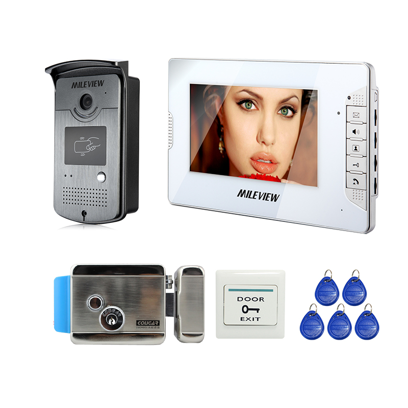 Wholesale New Home 7 Video Door Phone Intercom System + White Monitor + RFID Door Camera + Electric Control Lock FREE SHIPPING jeruan home 7 video door phone intercom system kit rfid waterproof touch key password keypad camera remote control in stock