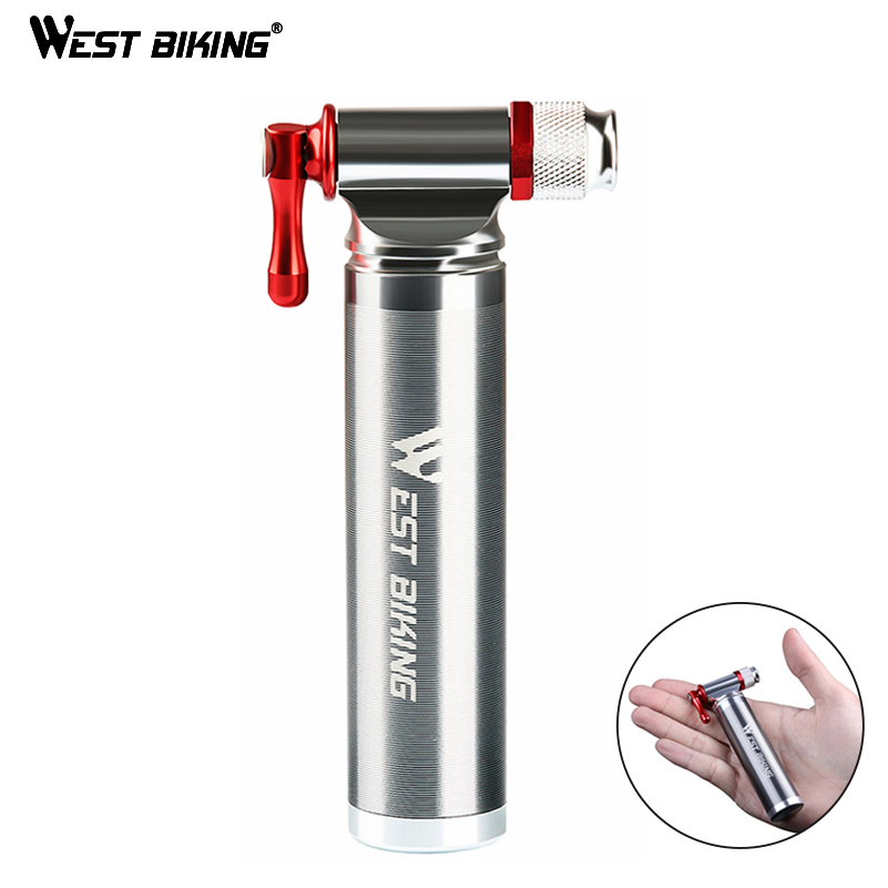 WEST BIKING Cycling Pumps CO2 Aluminum Alloy Mini Portable Schrader Presta Valve Head Pocket Tire Inflator MTB Road Bicycle Pump