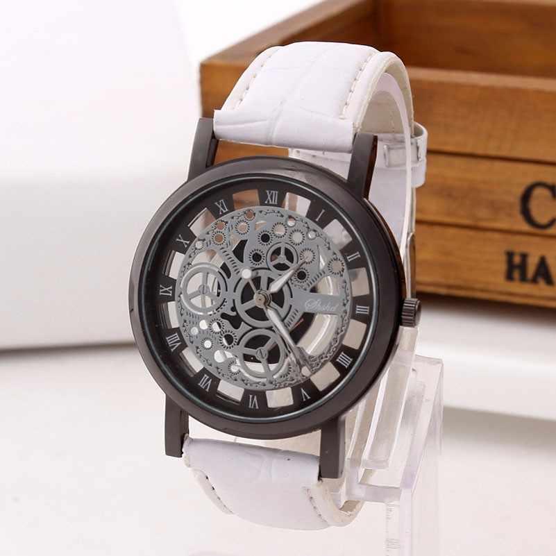 Reloj esqueleto de negocios de moda para Hombre grabado hueco Reloj de pulsera de cuarzo para Hombre Reloj de pulsera de cuero para Mujer Reloj de pulsera