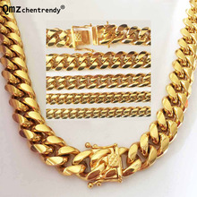 2018 News Arrival 8/10/12/14mm Stainless Steel Miami Curb Cuban Chain Necklaces Casting Dragon Lock Clasp Mens Hip hop jewelry
