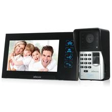 KKmoon 7 дюймов Проводной видео-дверной звонок визуальный 2-полосная аудио домофон отпечатков пальцев непромокаемые Ночное видение дистанционная разблокировка видео-телефон двери