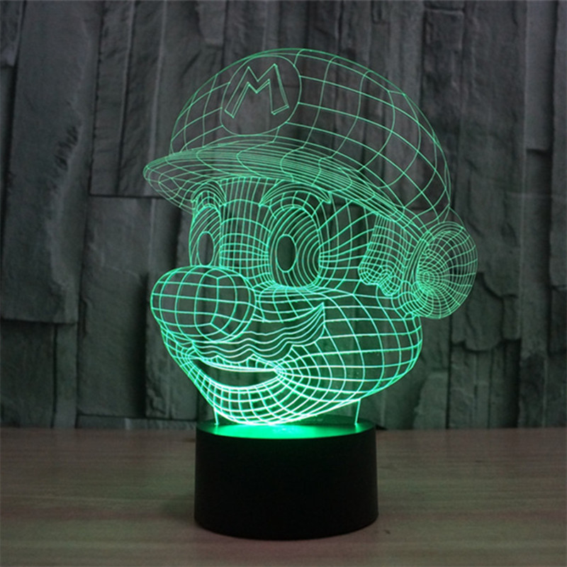 LED 3D Night Light Acrylic 3D Lamp Super Mario Cartoon Lampara Touch Luminaria USB Table Mood Lamp Baby Night Light Home decor