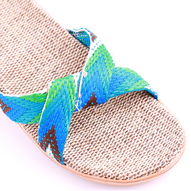 New  Fashion Flax Home Slippers Indoor Floor Shoes Cross Belt Silent Sweat Slippers For  Women Sandals 3
