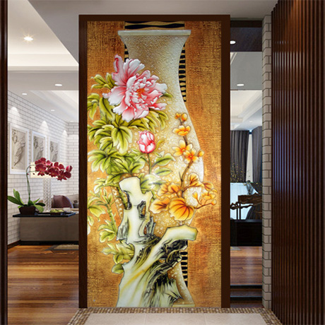 Custom large mural painting the living room entrance hallway wall 3D wallpaper background 3D wallpaper Peony Chinese vase vintage beautiful mahogany living room large mural wallpaper living room bedroom wallpaper painting tv background wall wallpaper