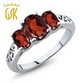 GemStoneKing Настоящее Стерлингового Серебра 925 Кольца 3-камень Подлинный Овальный Красный Гранат Драгоценный Камень Кольца Для Женщин Свадебные Украшения
