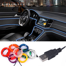 Impermeable 1M 2M 3M 5M cable Flexible EL tubo USB Flexible LED luz de neón para baile fiesta zapatos de coche ropa inversor USB(China)