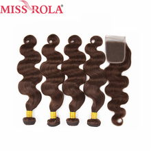 Miss Rola Hair Pre colored Ombre Mongolian Body Wave Non Remy 4 100 Human Hair Weave