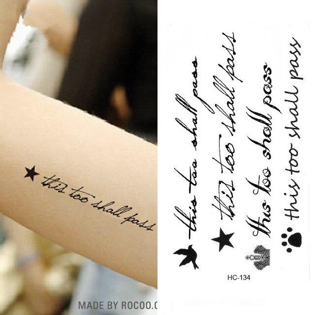 Us 578 Tattoo Sticker Op Body Waterdichte Tijdelijke Engels Brief Sterren Tattoo Water Transfer Fake Tattoo Flash Tattoo Voor Meisje Vrouwen In