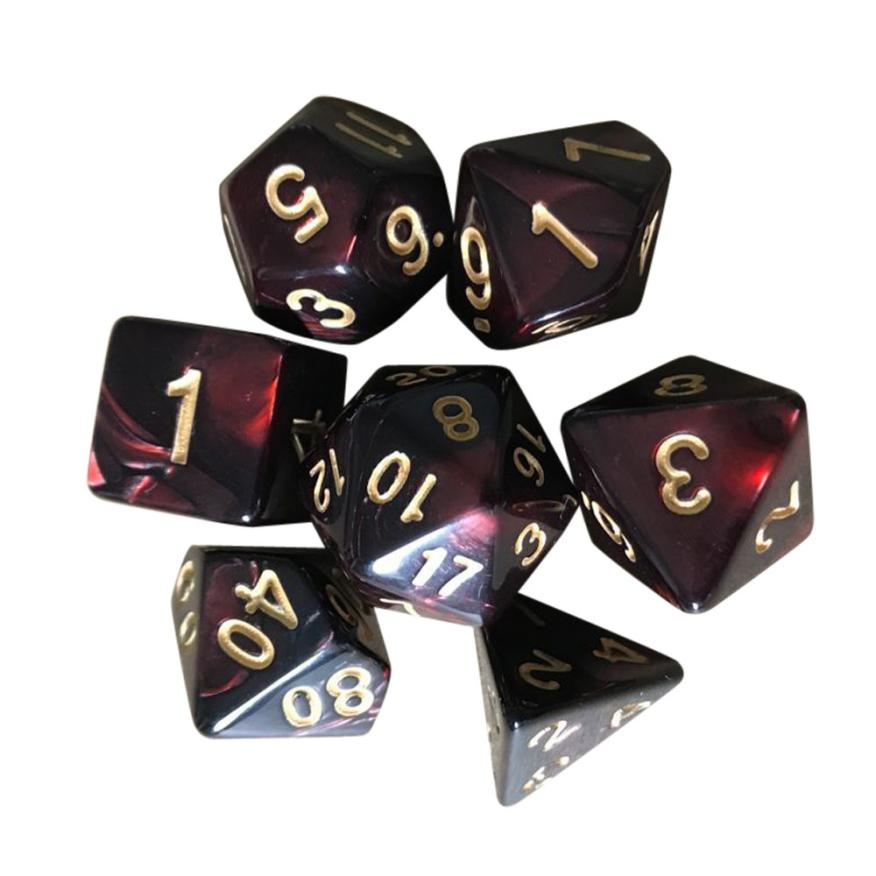 7pcs/Set TRPG Game Dungeons & Dragons Polyhedral D4-D20 Multi Sided Acrylic Dice Q40 AUG28