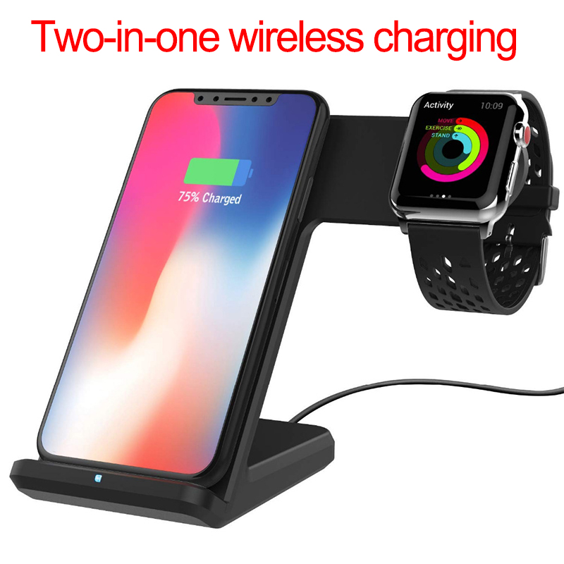 2 In 1 Qi Wireless Charger For Apple Watch 1 2 3 4 10W Fast Charging For iPhone XS Max XR X 8 Plus For Samsung S9 S8 Note 9 8