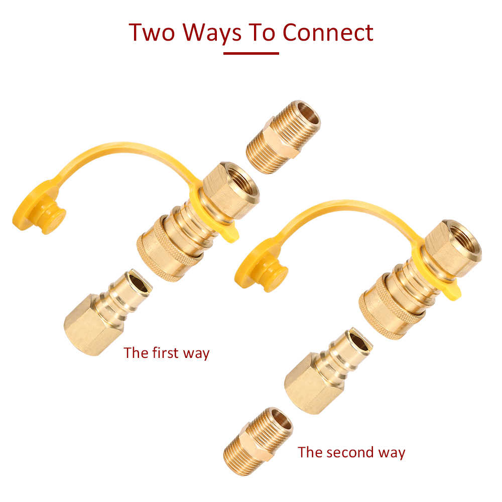 Solid Brass Gas Adapter 1/4'' RV Propane Connect Adapter Natural Gas Stove Gas Tank Quick Disconnect Kit with Shutoff Valve
