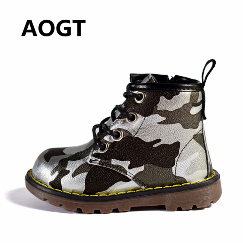AOGT 2019 Children Boots Boys Girls PU Leather Waterproof Martin Boots Fashion Ankle Boys Baby Boots Camouflage Kids Boy Shoes