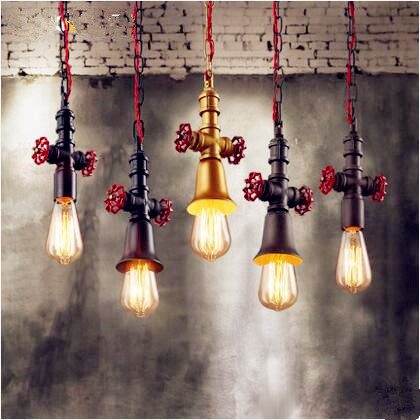 Edison Loft Industrial Pendant Lights Fixtures Dinning Room Retro Vintage Water Pipe Lamp Hang Light Lamparas Colgantes retro loft style industrial vintage pendant lights hanging lamps edison pendant lamp for dinning room bar cafe
